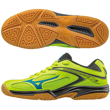 V1GD170346(螢光綠X水藍)WAVE LIGHTNING STAR Z3 Jr 兒童排球鞋 S【美津濃MIZUNO】