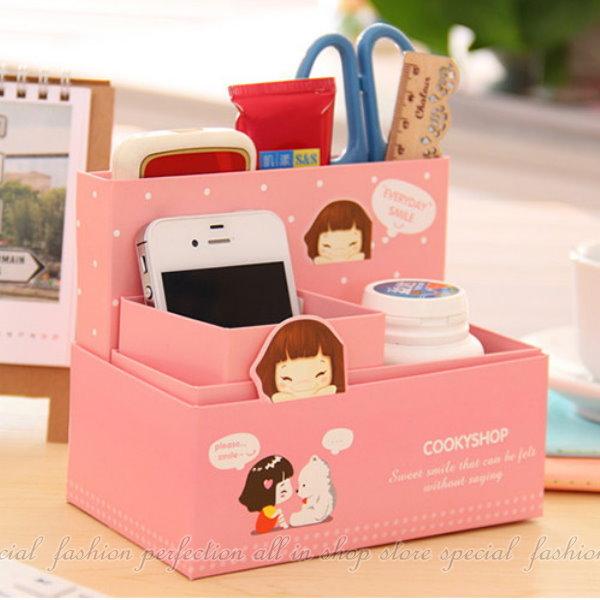 ◎123便利屋◎【GC387】可愛卡通紙質筆筒 DIY桌面收納盒 手機收納 文具收納盒 化妝品盒 置物盒