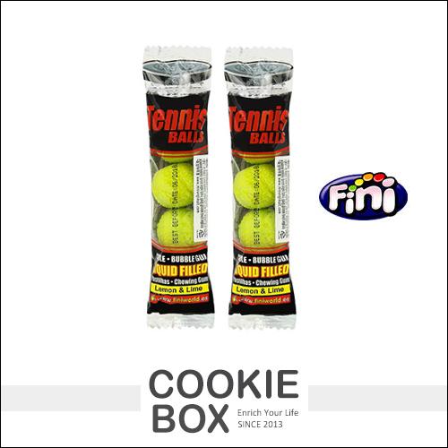 西班牙 Fini Tennis 網球 口香糖 四顆入 造型 糖果 夾心 內餡 檸檬 口味 *餅乾盒子*