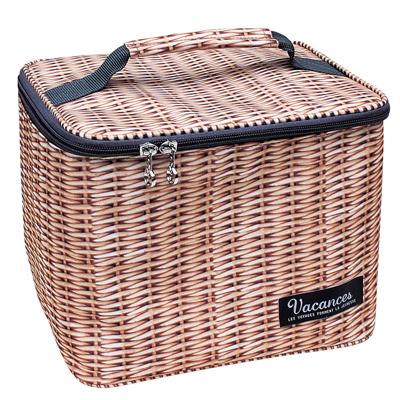預購。田園野餐仿木編圖騰-飲料保冷手提袋。裕子的店【jp1220-417】