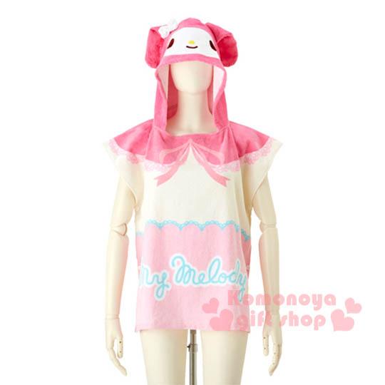 〔小禮堂〕美樂蒂 兒童造型連帽浴巾《粉.大臉.緞帶.LOGO》60x60cm