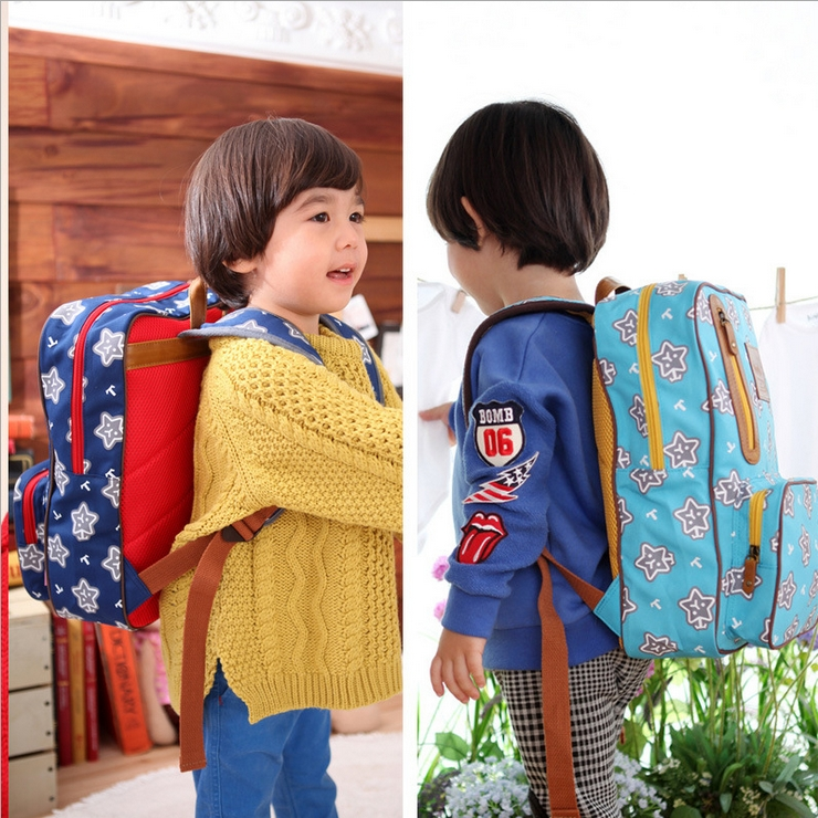 Tutuya◆時尚可愛滿版星星百搭帆布兒童書包雙肩包休閒後背包