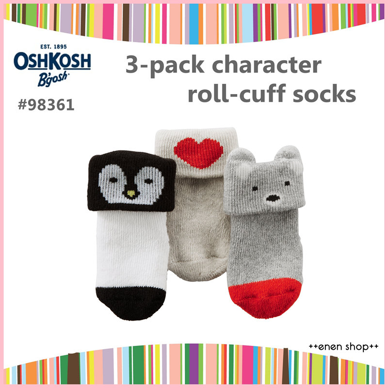 Enen Shop @OshKosh B'gosh 可愛動物/愛心款嬰兒襪三件組 ∥ 0-3M 新生兒/彌月禮