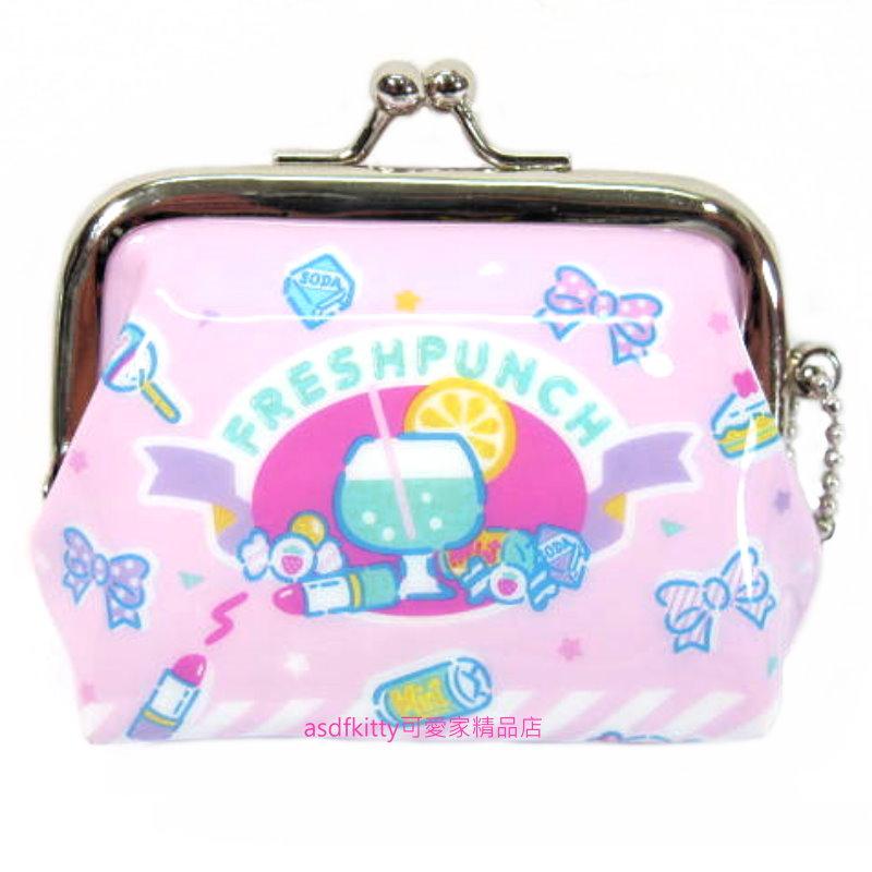 asdfkitty可愛家☆三麗鷗 SANRIO 粉色雙珠扣零錢包-防水材質-可當印章袋-附吊飾錬-日本正版商品