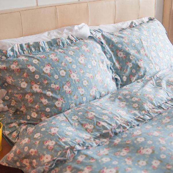 枕頭套一入- [小春日和-花滾邊] 100%精梳純棉 ; SGS檢驗通過 ; 45x75cm; 翔仔居家台灣製