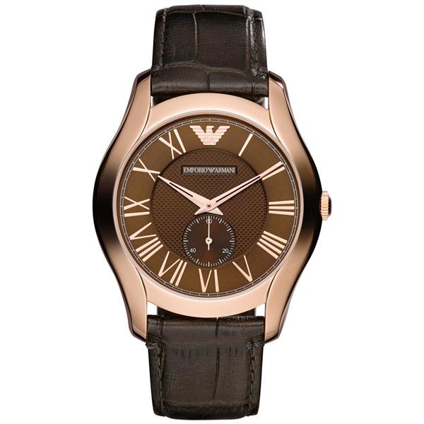 EMPORIO ARMANI/AR1705義式羅馬小秒針腕錶/咖啡面43mm