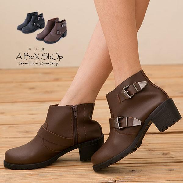 格子舖*【KDTPW9365】MIT台灣製 英倫簡約 金屬拉扣環 拉鍊粗跟短靴 工程靴 兩色