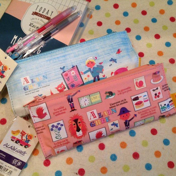 =優生活=【日貨特價】日本進口可愛手繪風格ALAIN GREE雙層雙面拉鍊筆袋 化妝包 收納包 繪畫筆袋