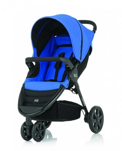 Britax - B-Agile單手收豪華三輪手推車 藍 (附前扶手) 加購Britax - Baby-Safe提籃享特價優惠!