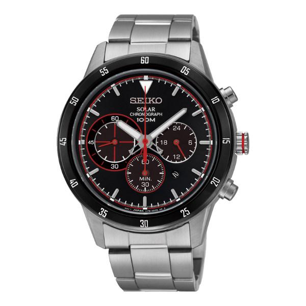 Seiko Spirit V175-0DA0R(SSC329P1)極致競速太陽能計時腕錶/黑紅面41mm