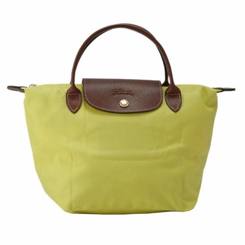 [短柄S號]國外Outlet代購正品 法國巴黎 Longchamp [1621-S號] 短柄 購物袋防水尼龍手提肩背水餃包 檸檬黃