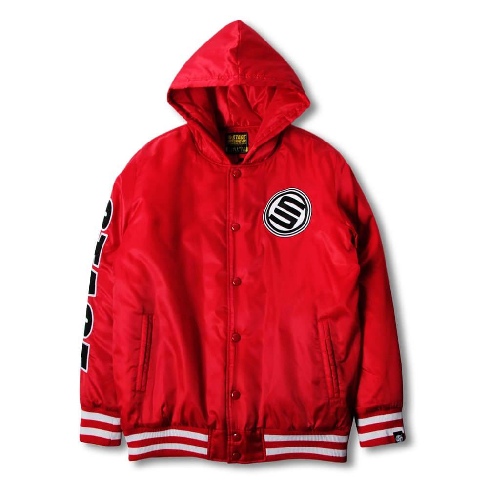 《新品限定優惠》STAGE HOODED BASEBALL JACKET 黑色/紅色 兩色