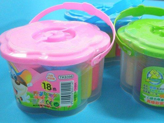 彩色黏土 彩色粘土TK8398彩泥土18色童玩捏麵人(大時鐘造型)/一盒入{定50}~74884~