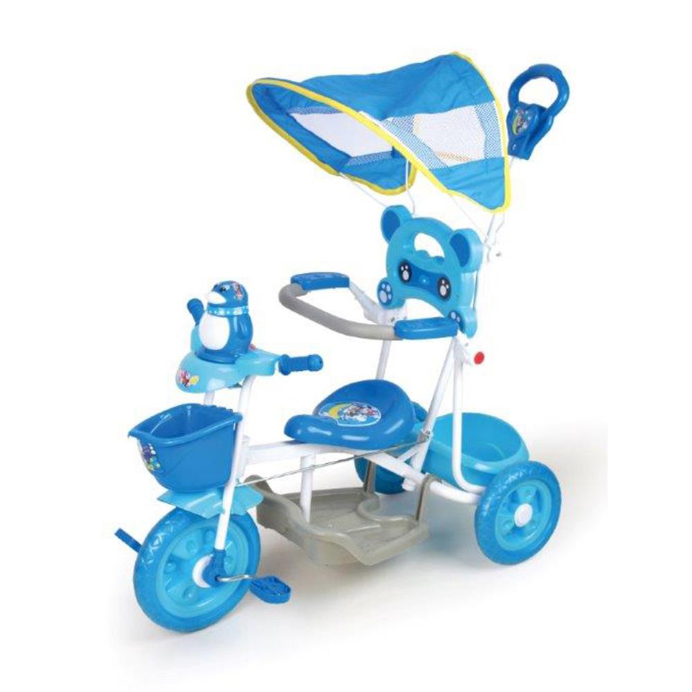 寶貝樂精選 遮陽棚俏皮企鵝音樂三輪車-藍色(BTXG304B)