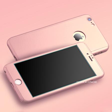 iPhone 6 6s Plus 360度全包覆保護殼+鋼化膜 三合一 9H硬度 硬殼 手機殼 蘋果6 i6【N201151】