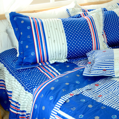 床罩組/雙人加大 【美國海軍風】 五件式床罩組/精梳棉,台灣製  絲薇諾