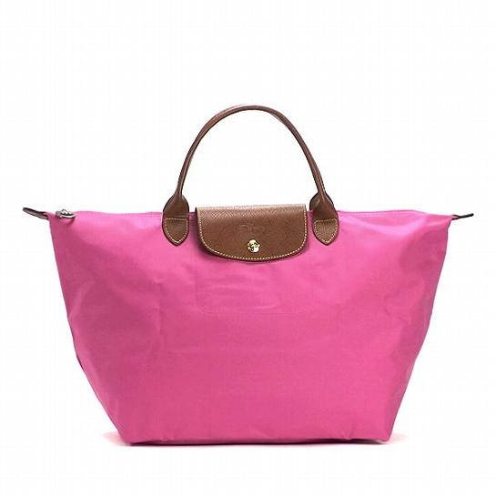 [1623-M號] 國外Outlet代購正品 法國巴黎 Longchamp 長柄 購物袋防水尼龍手提肩背水餃包粉色