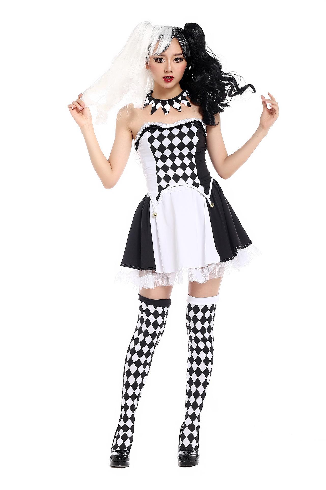 萬聖節halloween鬼節女小丑裝龐克黑白格子夜店派對COS服舞會假髮