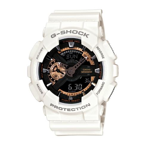 CASIO G-SHOCK GA-110RG-7ADR超限量酷白玫瑰金流行腕錶/黑面51mm