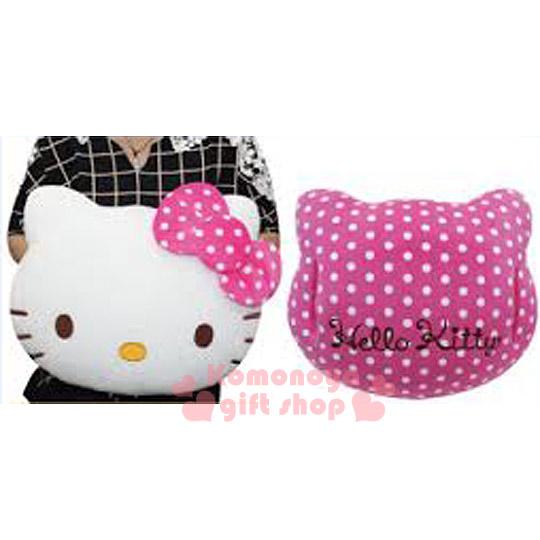 〔小禮堂〕Hello Kitty 保暖造型手插枕《白.點點.大臉》雙手不再冷冰冰