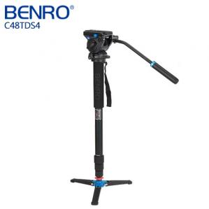 BENRO 百諾 C48TDS4 油壓雲台碳纖維單腳架套組 送原廠腳架袋      勝興公司貨