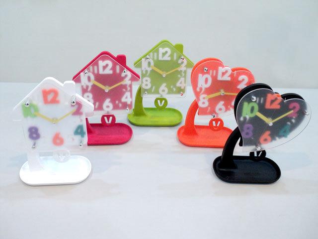 糖果色收納座鐘/會搖擺/立體數字座鐘/時鐘/可愛造型/HOUSE房子造型/LOVE愛心造型/搖擺座鐘