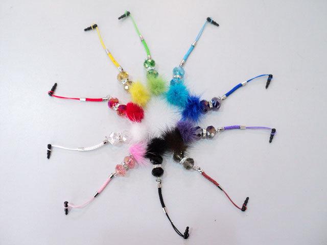 多彩水晶手機吊飾/毛球 防塵耳機塞/防塵塞/耳機塞/垂墜耳機塞~3.5mm 耳機插孔