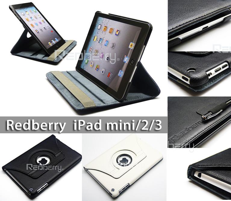 Apple iPad mini/iPad mini 2/iPad mini3  旋轉式書本皮套/平板皮套/閱讀保護套/皮套/旋轉皮套/二段可調高度/Redberry 草莓紅