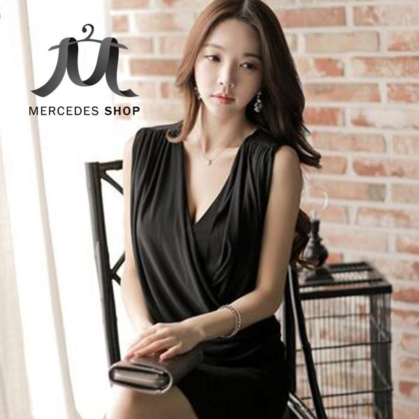 [全店7折] 純色修身V領無袖包臀中長連身裙 洋裝 - 梅西蒂絲