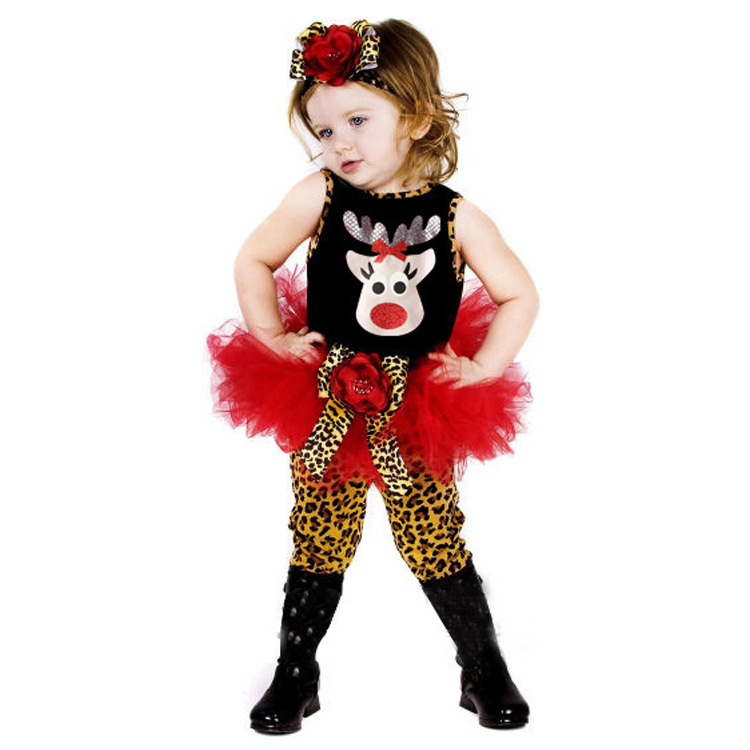 BABY GIRL108漂亮寶貝女童背心上衣+澎澎裙豹纹褲子聖誕造型套裝