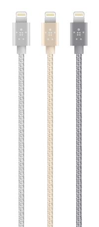 貝爾金 Belkin 金屬 Lightning - USB 同步/充電線 適用機型 iPhone 5,5S, 6, 6 Plus