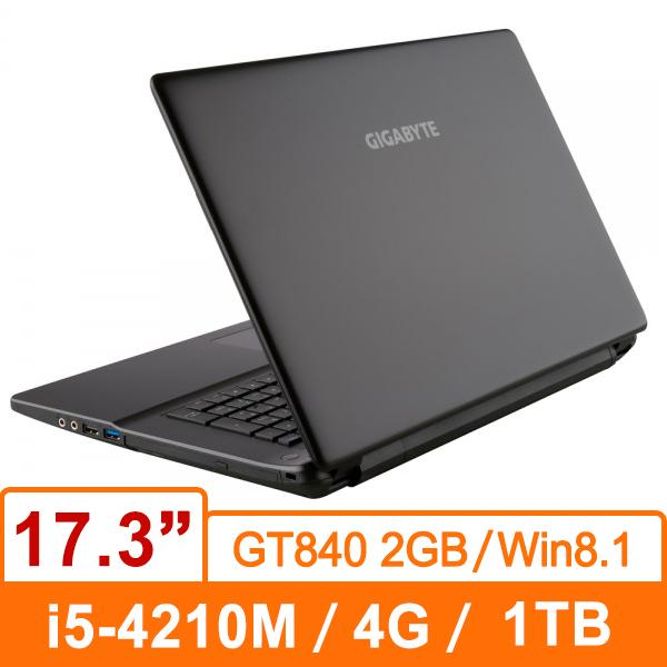 技嘉GIGABYTE Q27NV2-BSL9063H (黑) 筆記型電腦 i5-4210M/1TB/D3L 4GB/GT840 2GB/DVD/Win8.1