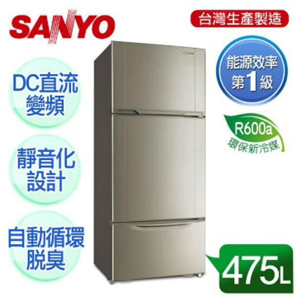 SANYO三洋475L直流變頻三門冰箱SR-A475CV