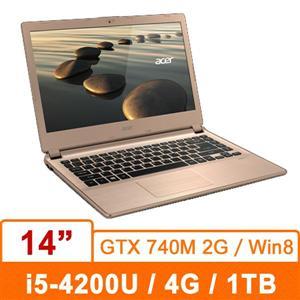 Acer V5-473G-54204G1Tamm04(香檳金) 14筆記型電腦14吋/i5-4200/4G/1T/NV-740 2G/W8 非觸控螢幕機種