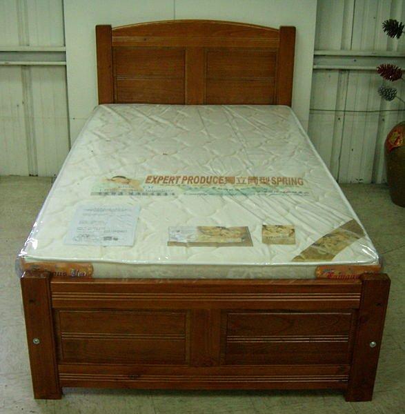 【尚品傢俱】614-27 柚木色實木3.5尺床台床架~另有5尺《台中市部分免運》