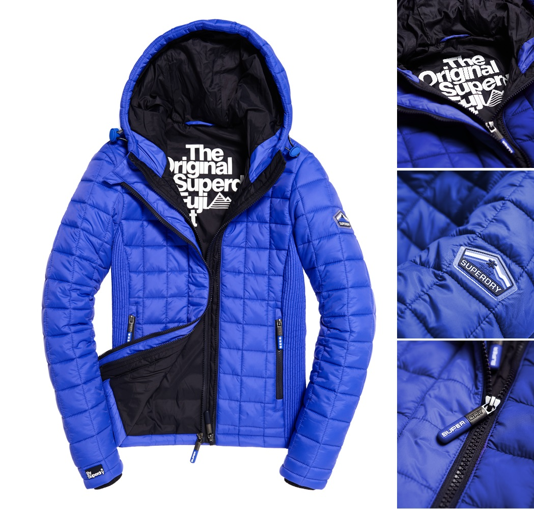 【女款】歲末出清極度乾燥 Superdry Fuji絎縫框式連帽夾克 羽絨外套 防風 雙層拉鍊 輕質連帽 寶藍 淺紫