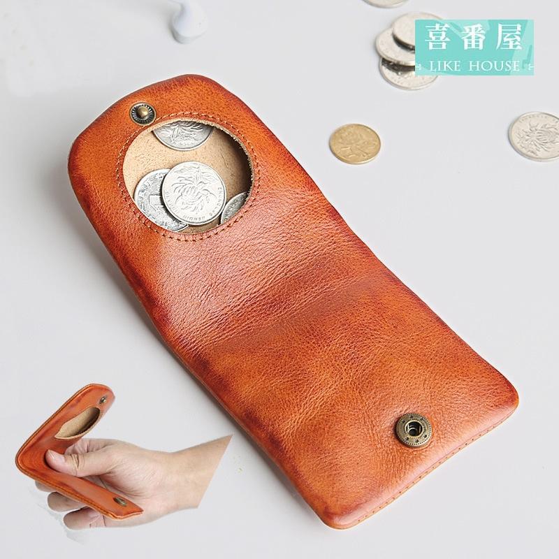 【喜番屋】日韓版真皮牛皮男女通用輕薄皮夾皮包錢夾零錢包小錢包硬幣包男夾女夾LH371
