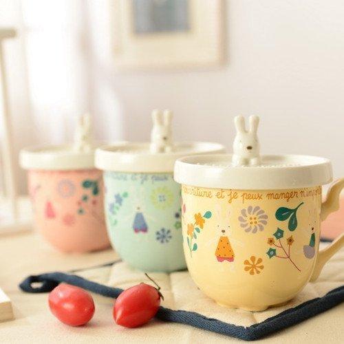 =優生活=日本正版 Le Sucre 砂糖兔 法國兔 陶瓷 附研磨蓋+湯匙 馬克杯 大容量早餐杯 牛奶杯
