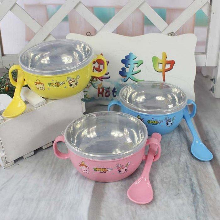 淇淇婦幼館【QQ339】寶寶專用304不銹鋼餐碗,附蓋子,湯匙 共三色