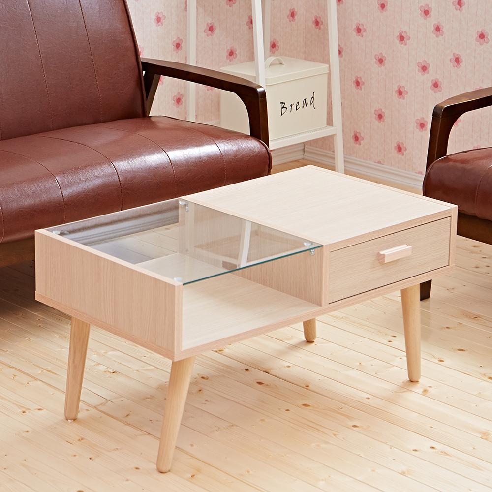 日本熱賣【雙面拉貝多芬】玻璃抽屜大茶几‧實木椅腳 ★班尼斯國際家具名床