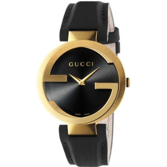 Gucci 古吉YA133212 經典雙G黑金時尚腕錶/黑面37mm