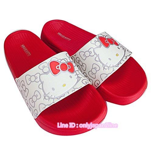 【真愛日本】厚底拖鞋915056-白紅36-40  三麗鷗 Hello Kitty 凱蒂貓 拖鞋 鞋子 室內拖 室外拖