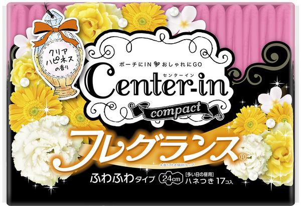 日本原裝進口 Unicharm CENTER-IN棉柔蝶翼幸福香氛衛生棉-日用量多(24cm)  17片入