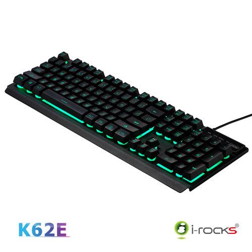 艾芮克 i-Rocks K62E 七彩背光 雙色鍵帽金屬鍵盤 兩色(黑、白)