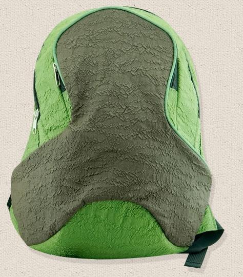 趣味流氓兔橡皮人小鬍子黑條青蛙綠花紋人字褶皺休閒雙肩背包-人字褶皺