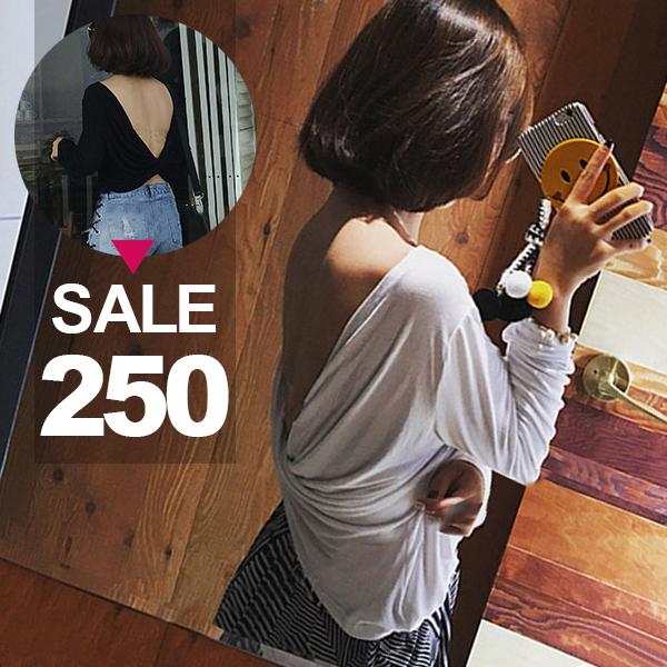SISI【L6078】性感大露背韓版時尚背大V鏤空露背扭結寬鬆顯瘦寬鬆T恤上衣