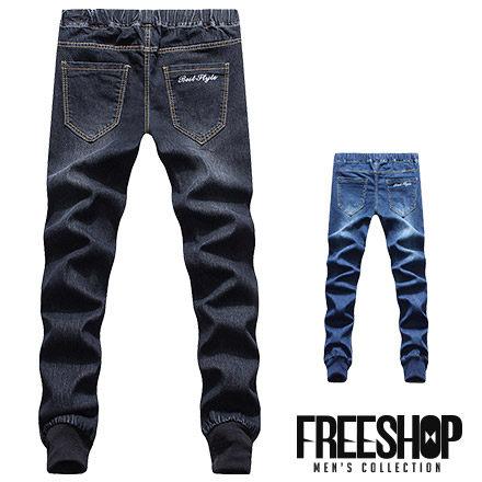 Free Shop【QSPN3847】日韓系潮流後口袋電繡字腰間彈性單寧縮口褲牛仔長褲 二色