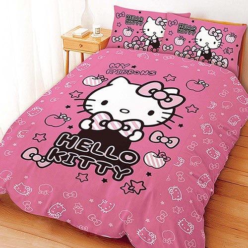【UNIPRO】Hello Kitty 凱蒂貓 5X6.2尺 雙人床包組(枕頭套X2+床單X1) 貼心小物 (粉) 三麗鷗正版授權 台灣精品 KT