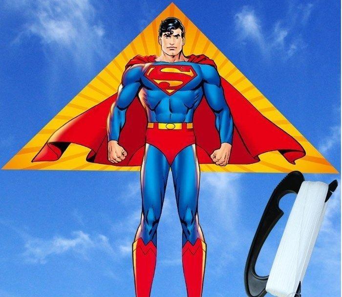 《野餐要買啥》戶外休閒超人Superman造型風箏(附100公尺線盤)