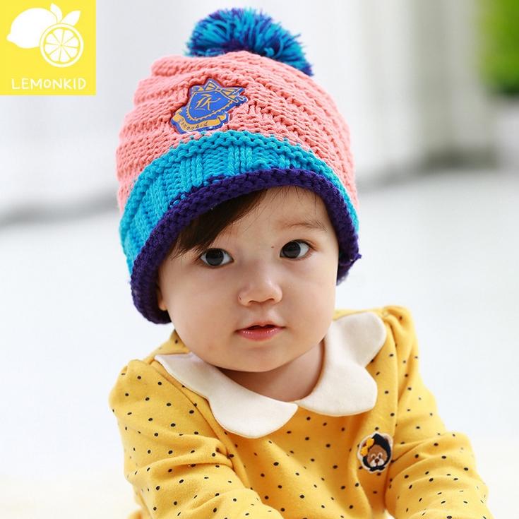 Lemonkid◆秋冬可愛彩色毛球亮眼糖果配色徽章兒童編織毛線帽-西瓜紅